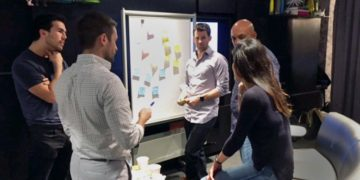 Citi employees brainstorming during a D10X workshop